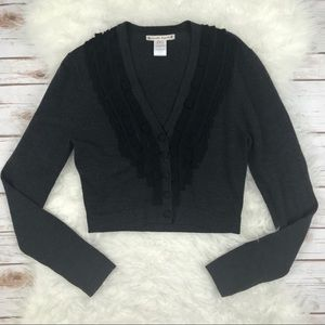 Nanettte Lepore Cropped Gray Cardigan Sweater